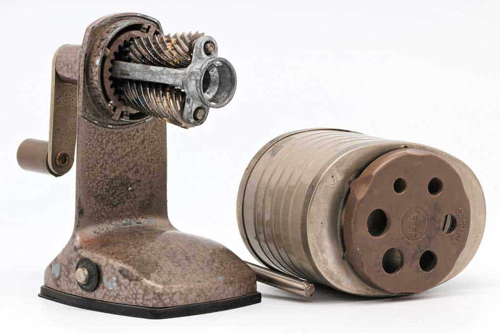 A cylindrical, or rotary, model pencil sharpener.