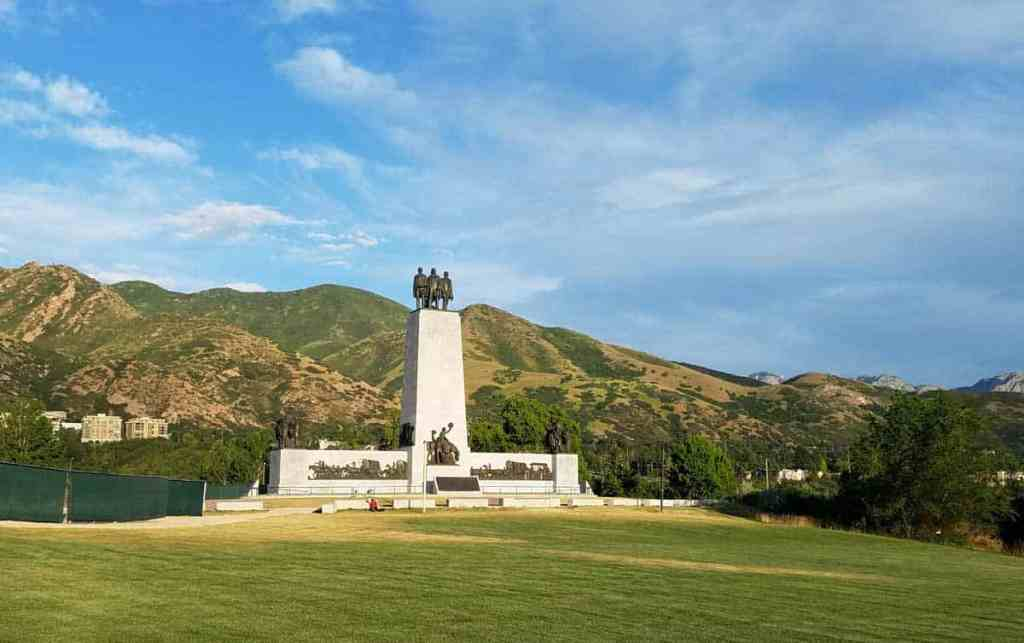 This Is The Place Monument in the foothills on the east side of Salt Lake City