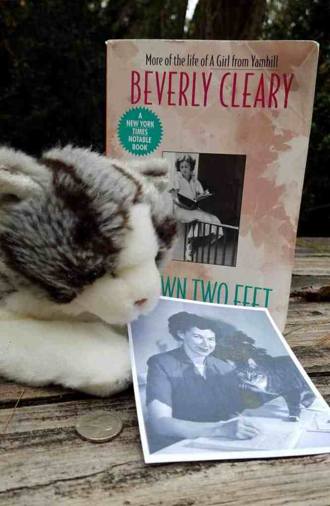 My Own Two Feet, Beverly Cleary's memoir, is shown with a photograph of Beverly and Kitty, a nickel, and a stuffed toy kitten.
