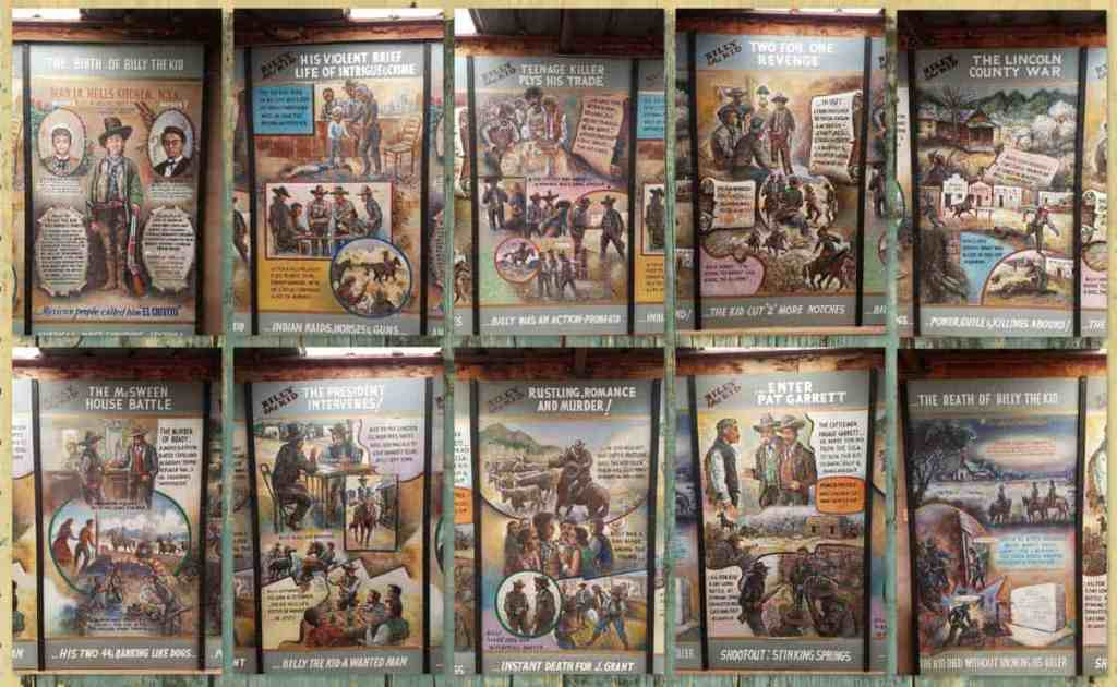 10 mosaic panels depicting major life events of Billy the Kid