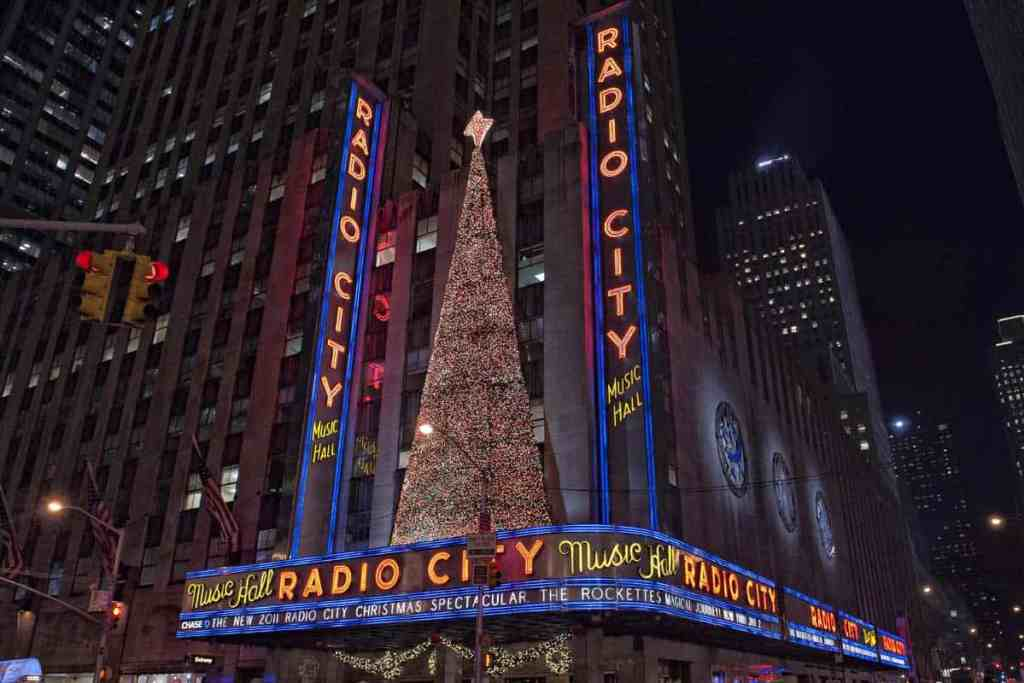 Outside of the Radio City Music Hall decorated for Christmas in 2011