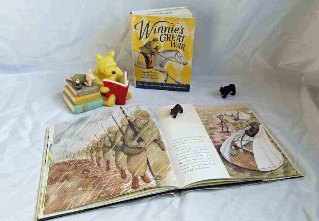 Inside Pages of Finding Winnie by Lindsay Mattick show the soldiers training and also show the bear climbing a tent pole