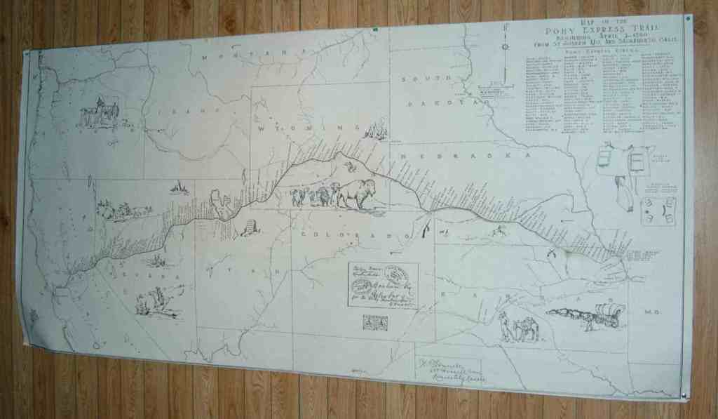 This map hangs in the Marysville, KS, Pony Express Home Station Barn and Museum. It shows the route and the stations along the way.