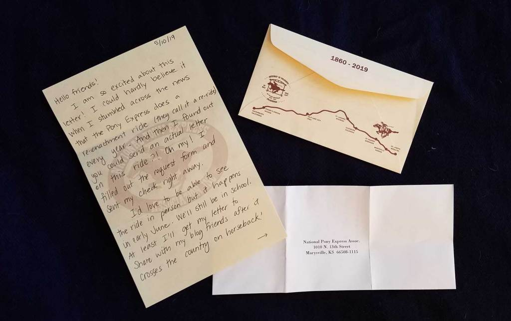 My letter which will be carried by the 2019 re-ride of the pony express