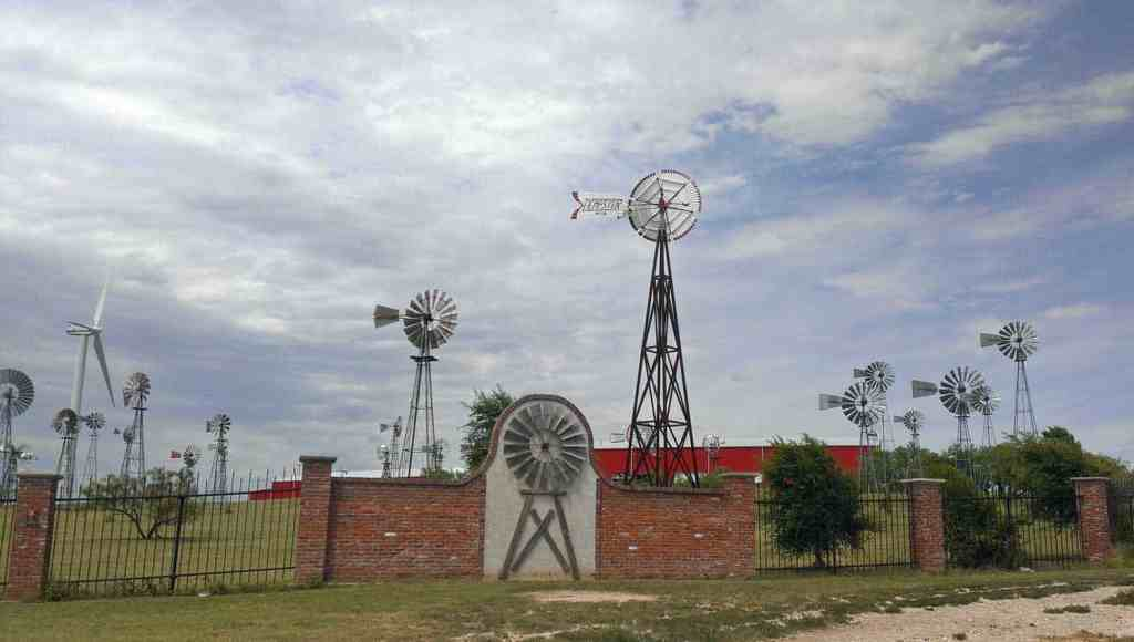 outside the gates of The World's Largest Windmill Museum... American Windmill Museum in Lubbock, Texas