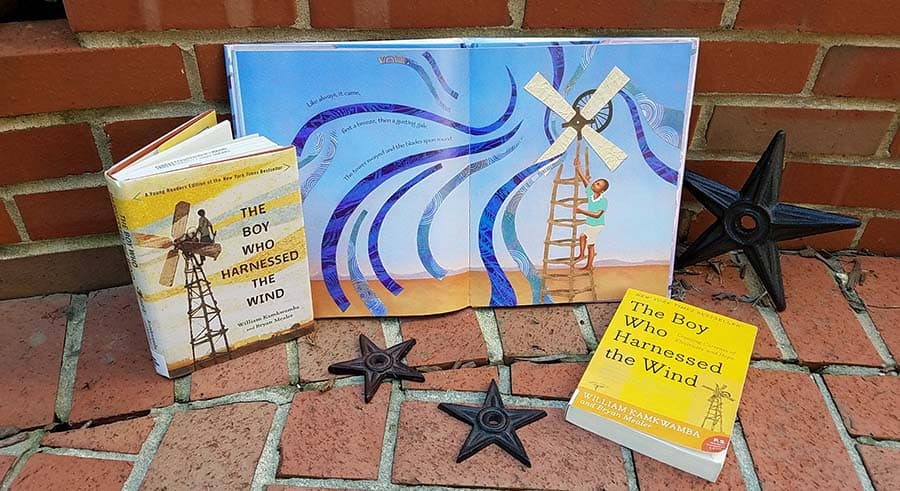 The covers of two books - The Boy Who Harnessed the Wind - and the inside of the picture book version of the story showing a boy and a windmill