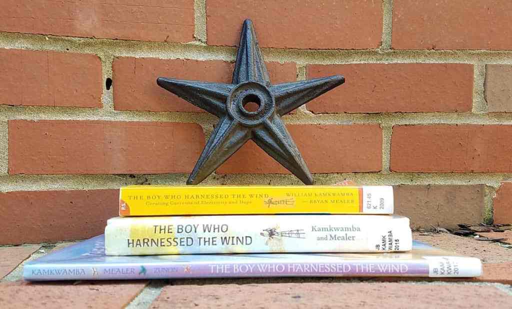 the spines of the books titled The Boy Who Harnessed the Wind facing out with an iron star on top of the stack of books