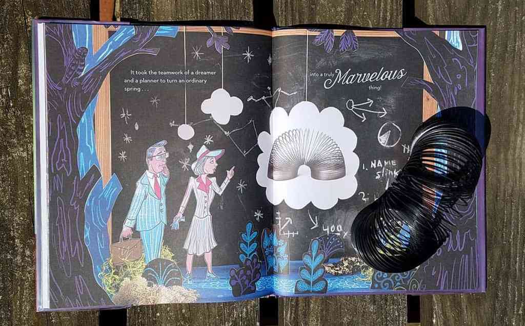 """Book The Marvelous Thing That Came From a Spring inside page showing Betty and Richard James. Text reads""""It took the teamwork of a dreamer and a planner to turn an ordinary spring into a truly marvelous thing!"""""""
