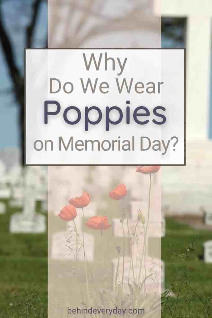 title text Why Do We Wear Poppies on Memorial Day against a background of white crosses in a cemetary and red poppies in the foreground