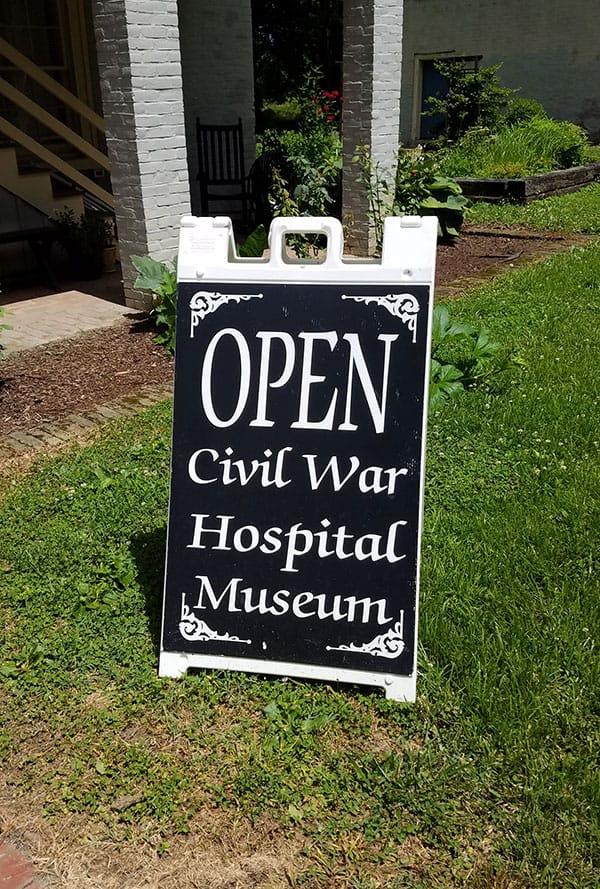 Open Sign outside Civil War Hospital Museum
