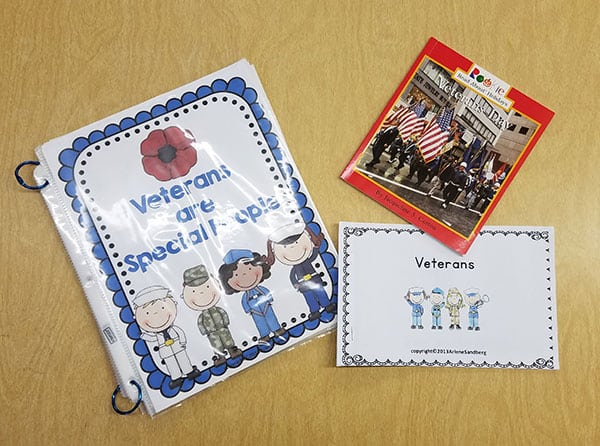 3 books for young children about Veterans Day on table