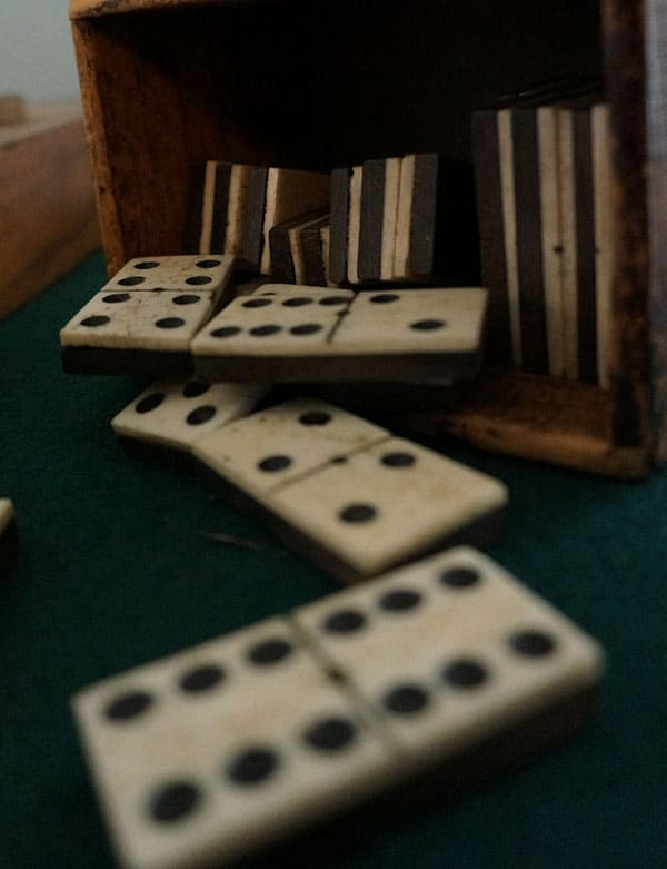 close up of dominoes from the 1800s
