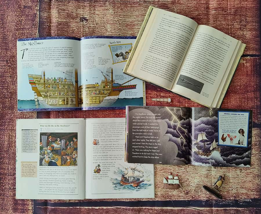 interior book pages of 4 children's books about life aboard Mayflower