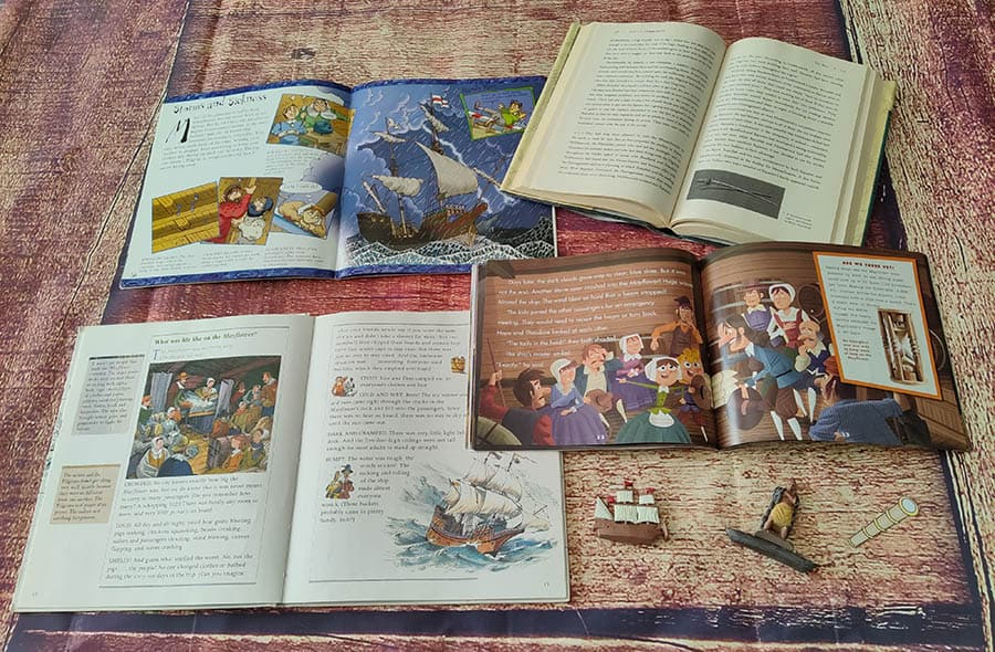 interior book pages of 4 books about life on the Mayflower