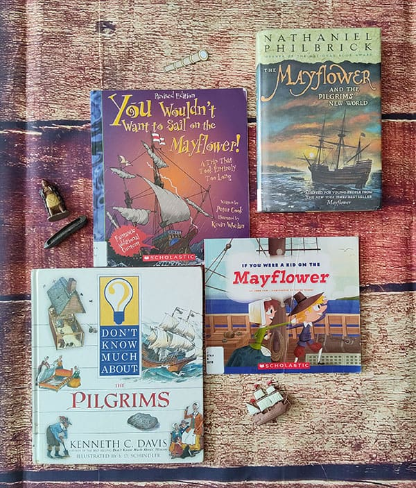 4 children's books about life on Mayflower