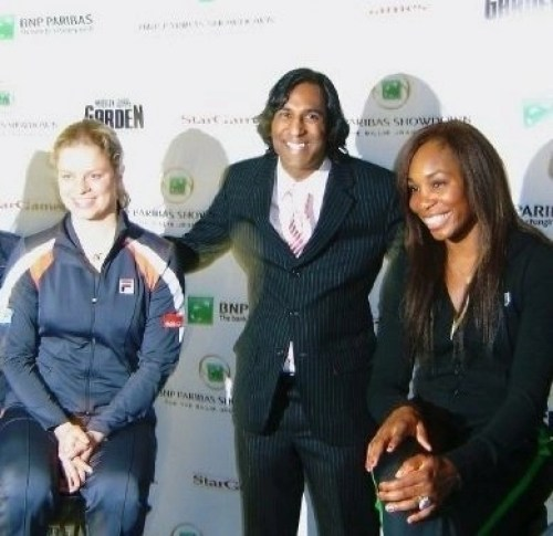 Deepak Trivedi with Venus Williams and Kim Clijsters