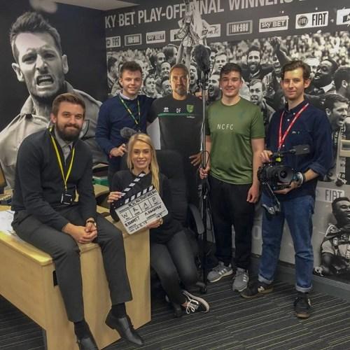 Gavin Beard with the Norwich City Marketing Team