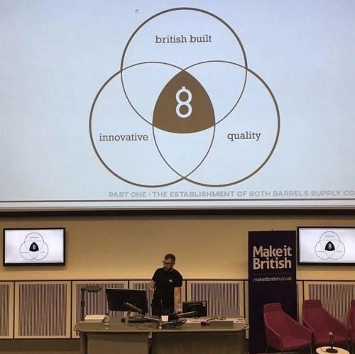 Mat giving a talk on Both Barrels