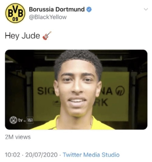 Borussia Dortmund announce the signing of Jude Bellingham on social