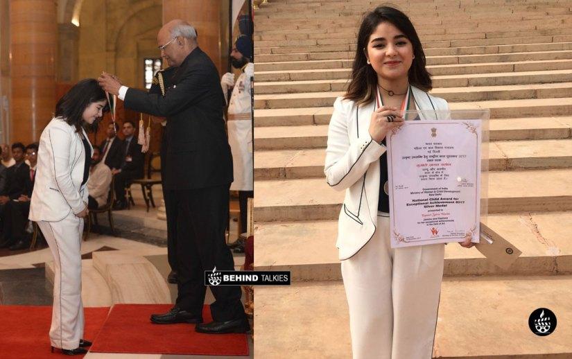 Zaira Wasim receive the National Child Award