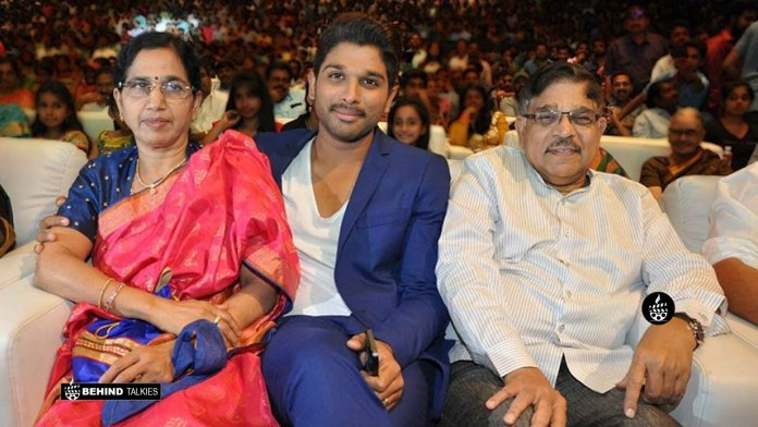 Allu Arjun with his Father and Mother