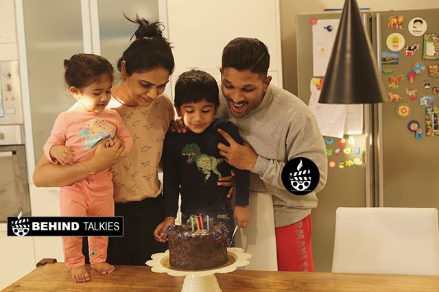 Allu Arjun with his wife and children