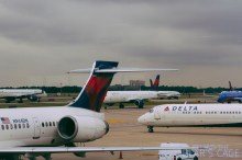 A sea of Delta jets at Hartsfield, with my flight waiting to depart in the foreground.