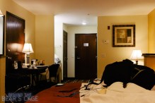 Even on the road, I work and sleep in the same room. Although there's a clearer separation here than there is at home.