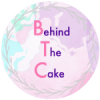 Logo for behind the cake in watercolors pink purple and light blu