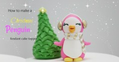 Behind the cake - Pink fondant penguin figurine cake topper