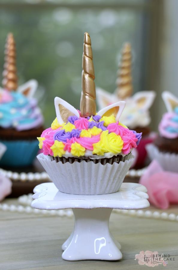 Behind The Cake ~ How to make unicorn cupcakes / easy cute unicorn cupcakes tutorial
