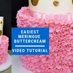 Behind The Cake ~ Easiest meringue buttercream recipe. Buttercream using egg whites from carton, powder sugar, butter and vanilla.