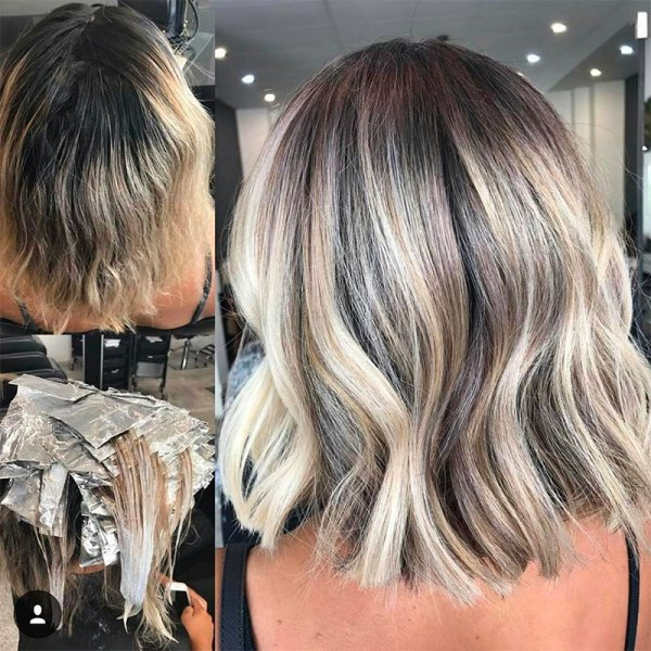 before and after hair color transformation by hairbykaitlinjade