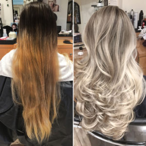 blonde balayage transformation & color correction before and after photo