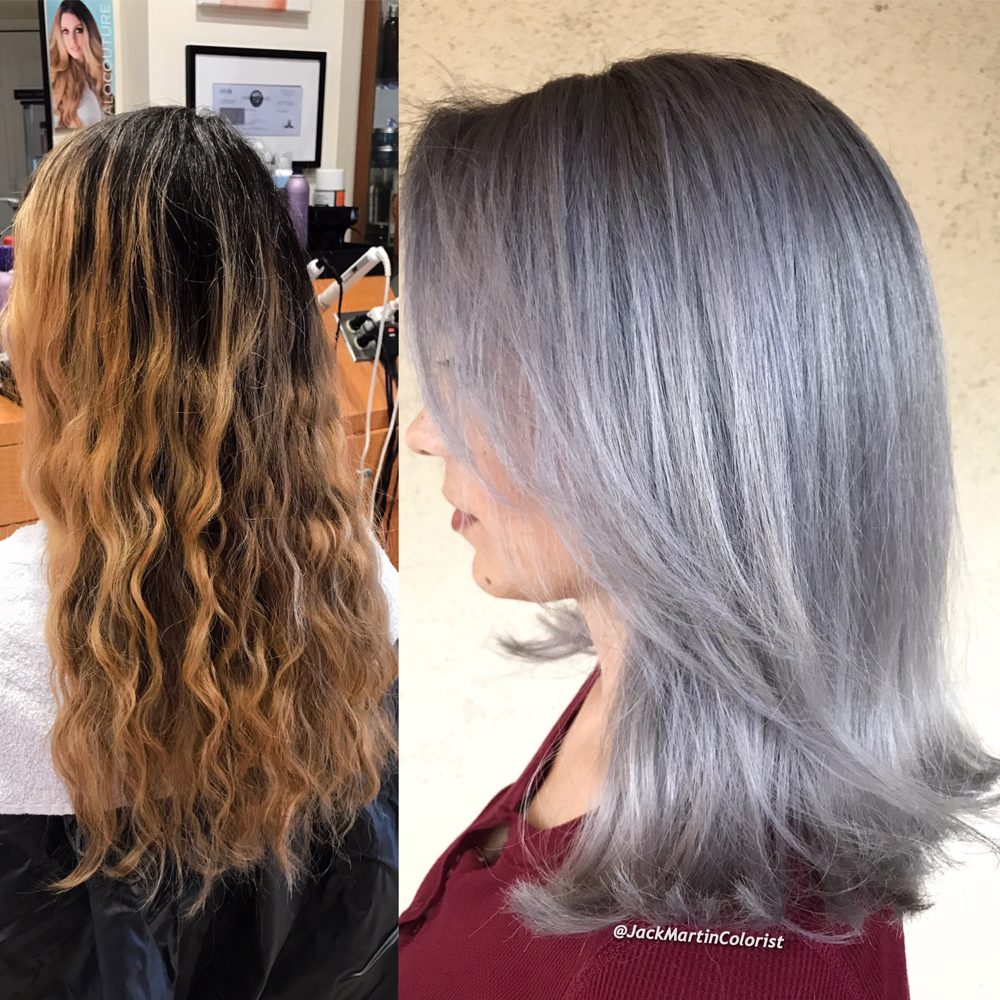 Color Correction From Brassy To Lavender Infused Silver