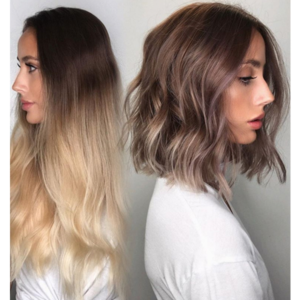 Lob haircut transformation and auburn color transformation by raven camacho soraverly