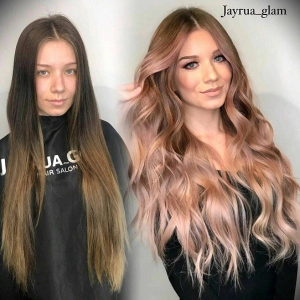 Stunning peach hair color transformation with curling iron waves by @jayrua_glam