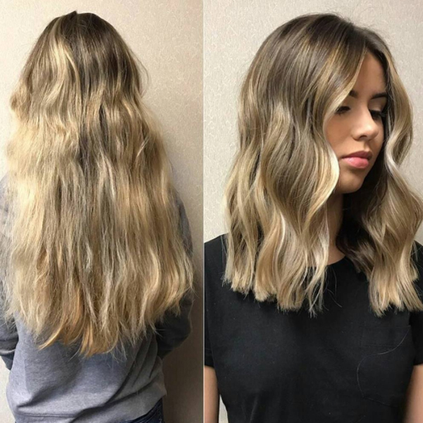 lob haircut transformation with wavy hair by @siakoul