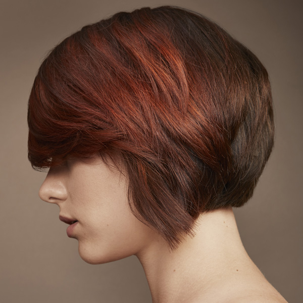 redken brunette with tones of copper short hair color blocking technique
