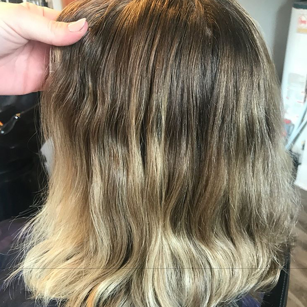 Sandy Blonde Balayage + Money Piece Before Shot