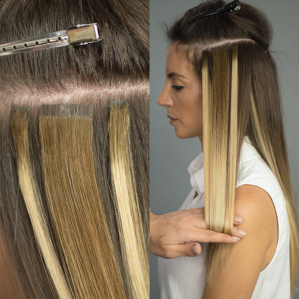 hair painting with hairtalk® extensions in process