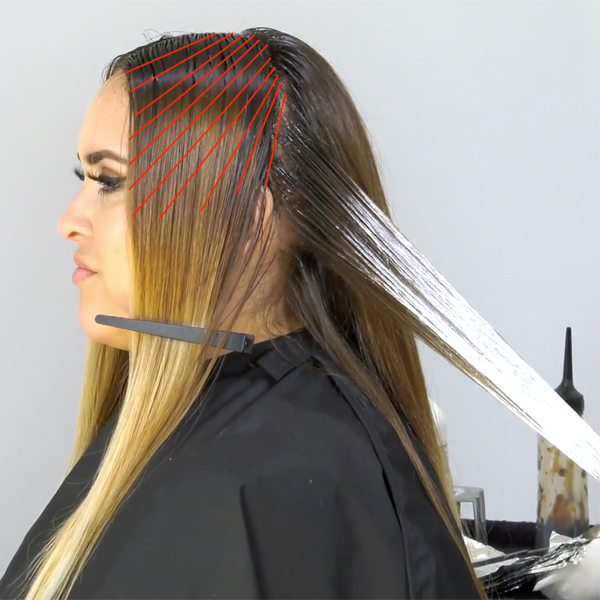 perfect hair parting for creating a money piece - money piece sectioning