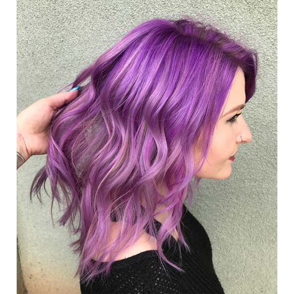 Tone-on-tone purple dimensional haircolor how-to and formula