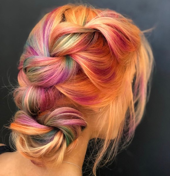pastel rainbow fashion hair color braid by @stephhstyles