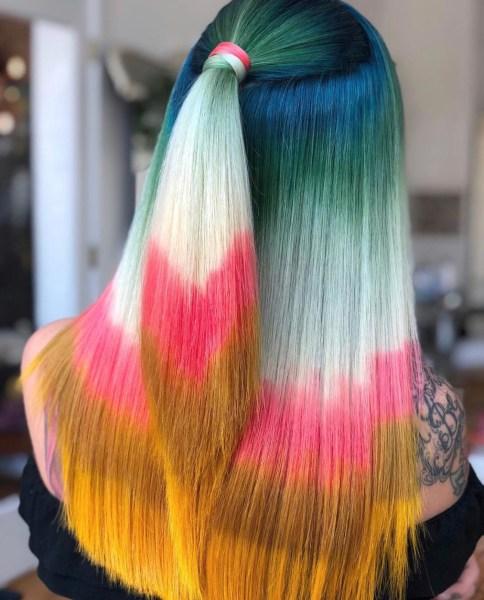 green pink orange fashion hair color by @kayla_boyer