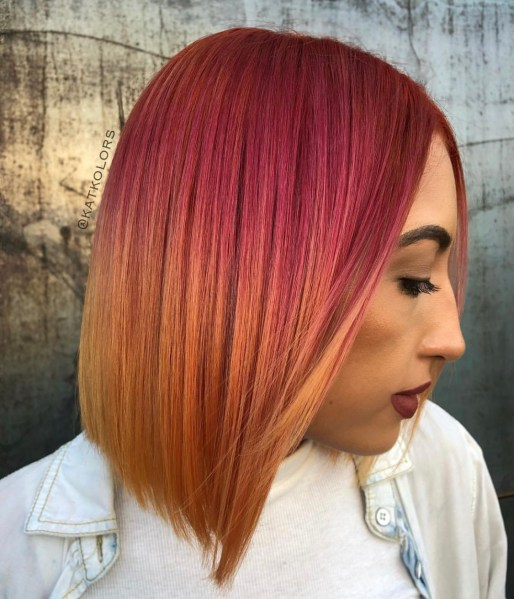 orange red blend hair color - fashion hair color by @katkolors