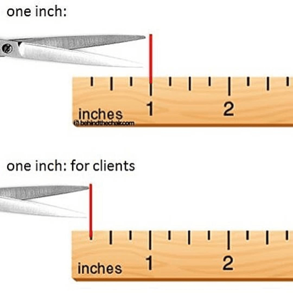 One Inch. Once inch for clients. - funny meme - Behindthechair.com's Top Instagram Memes of 2018
