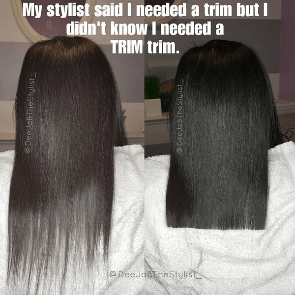 My stylist said I needed a trim but I didn't know I needed a trim trim. - funny meme - Behindthechair.com's Top Instagram Memes of 2018