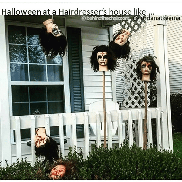 Halloween at a hairdresser's house like... -- funny meme - Behindthechair.com's Top Instagram Memes of 2018