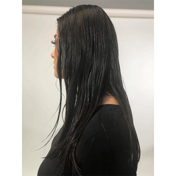wet hair, brunette, blowout, blow dry